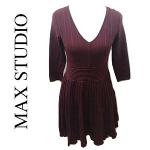 MAX STUDIO Size S Sweater Dress Solid Maroon Red